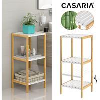 Casaria Badkamermeubel - Bamboe - 3 planken - 80 x 34 x 33cm - Wit