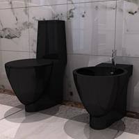 vidaXL Keramieken W.C. en Bidet Set (zwart)