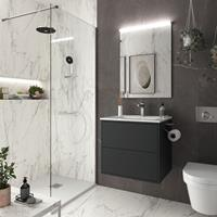 Muebles Ideal badkamermeubel 60cm mat zwart met spiegel en spiegellamp