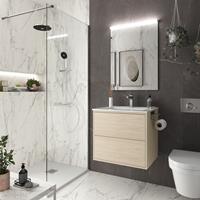 Muebles Ideal badkamermeubel 60cm licht eiken met spiegel en spiegellamp