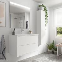 Muebles Ideal badkamermeubel 80cm mat wit met spiegel en spiegellamp