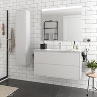 Muebles Ideal badkamermeubel 100cm mat wit met spiegel en spiegellamp