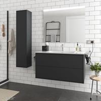 Muebles Ideal badkamermeubel 100cm mat zwart met spiegel en spiegellamp
