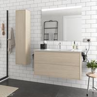 Muebles Ideal badkamermeubel 100cm licht eiken met spiegel en spiegellamp