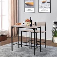 HOMCOM Bartafel met 2 stoelen 3-delige tafelset barstoel barkruk MDF naturel zwart