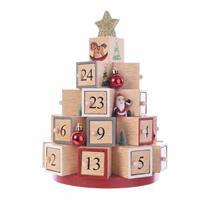 Bellatio Decorations Kerst decoratie adventskalender kerstboom MDF 28 cm -