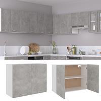 vidaXL Hangkast 80x31x60 cm spaanplaat betongrijs