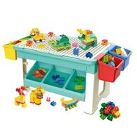 Decopatent Speeltafel met bouwplaat (geschikt voor Duplo blokken) en vlakke kant. Kindertafel met 7 Opbergbakken - Bouwtafel