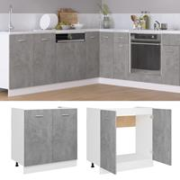 vidaXL Wastafelonderkast 80x46x81,5 cm spaanplaat betongrijs