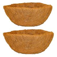2x Stuks Voorgevormde Inlegvellen Kokos Voor Hanging Basket 40 Cm - Kokosinleggers / Plantenbak Van Kokos
