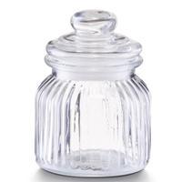 1x Glazen Voorraadpotten/bewaarpotten 600 Ml Strepen Relief 11 X 14,5 Cm - Keukenbenodigdheden - Voedsel Opslaan/bewaren