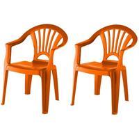 2x Oranje Stoeltjes Voor Kinderen 51 Cm - Tuinmeubelen - Kunststof Binnen/buitenstoelen Voor Kinderen