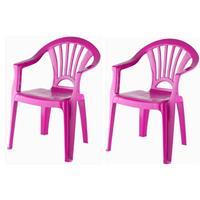 2x Fuchsia Roze Stoeltjes Voor Kinderen 51 Cm - Tuinmeubelen - Kunststof Binnen/buitenstoelen Voor Kinderen