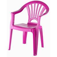 Fuchsia Roze Stoeltje Voor Kinderen 51 Cm - Tuinmeubelen - Kunststof Binnen/buitenstoelen Voor Kinderen