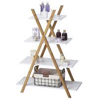 Kleankin badkamerplank 4 niveaus trapplank ladderplank badkamer bamboe naturel + wit
