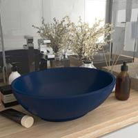 vidaXL Wastafel ovaal 40x33 cm keramiek mat donkerblauw - vidaXL