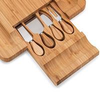Decopatent Bamboe Kaasplank met Lade & Inclusief 4 Kaas messen - Kaas plankje - Serveerplank hout - Serveerplank voor kaas