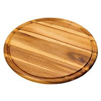 Decopatent FSC Acazia houten Vleesbord Ø30 Cm - Acazia Hout - Vlees plaat - Vleesplank - Bord - Vlees & Brei serveerplank - 30 x 30 x 1.5 Cm