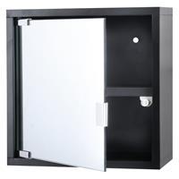 Differnz Quadro kubuskast met spiegel 30x30x12cm zwart