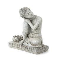Spiru Boeddha met Kaarshouder Steengrijs (17,5 cm)