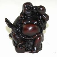Spiru Happy Boeddha Beeld Polyresin Rood (7,5 x 7,5 x 7 cm )