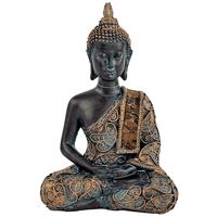 Spiru Thaise Boeddha Beeld Mediterend Polyresin Zwart - 10 x 6 x 15 cm