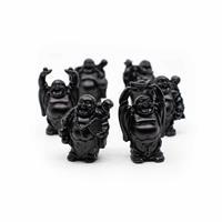 Spiru Happy Boeddha Beeld Staand Polyresin Zwart - set van 6 - ca. 7 cm