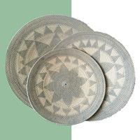 NusaOriginals Handgemaakte Rotan Schalen - XL set van 3 - grijs