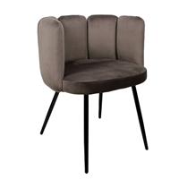 Steigerhouttrend High five chair velvet - donkergrijs