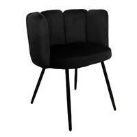 Steigerhouttrend High five chair velvet - zwart