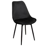 Steigerhouttrend Leaf chair velvet – zwart