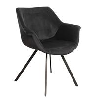Steigerhouttrend Ray arm chair velvet - zwart