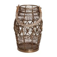 PTMD Yamila Brass iron woven lantern with handle S