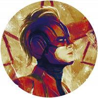 Komar Avengers Painting Captain Marvel Helmet Zelfklevend Fotobehang 125x125cm rond