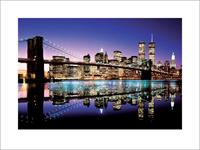 Pyramid Brooklyn Bridge Colour Kunstdruk 80x60cm