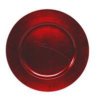 Bellatio Decorations 1x Ronde kaarsenborden/onderborden rood glimmend 33 cm -