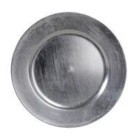 Bellatio Decorations 1x Ronde kaarsenborden/onderborden zilver glimmend 33 cm -