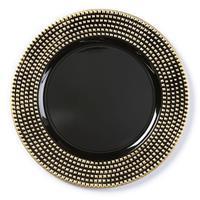 Christmas goods 1x stuks kaarsenborden/onderborden zwart met gouden steentjes 33 cm -