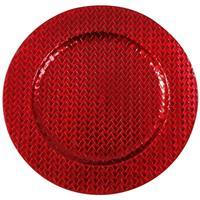 Merkloos Kaarsenbord/plateau rood vlechtpatroon 33 cm rond -