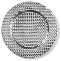 Merkloos Kaarsenbord/plateau zilver gevlochten 33 cm rond -