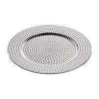 Merkloos 1x Ronde kaarsenborden/onderborden glamour zilver 33 cm -