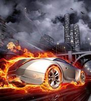 Dimex Car in Flames Vlies Fotobehang 225x250cm 3-banen