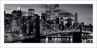 Pyramid Brooklyn Bridge Black and White Kunstdruk 100x50cm