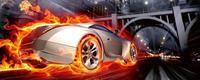 Dimex Car in Flames Vlies Fotobehang 375x150cm 5-banen