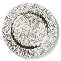 Christmas goods 1x stuks kaarsenborden/onderborden zilver glimmend 33 cm -
