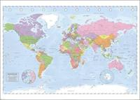 Pyramid Political World Map Miller Projection Poster 140x100cm
