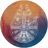 Komar Star Wars Millennium Falcon Zelfklevend Fotobehang 125x125cm rond
