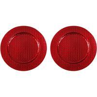 Merkloos 2x Kaarsenborden/plateaus rood vlechtpatroon 33 cm rond -