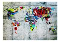 Artgeist Map Graffiti Vlies Fotobehang 100x70cm