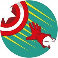 Komar Avengers Captains Shield Pop Art Zelfklevend Fotobehang 125x125cm rond